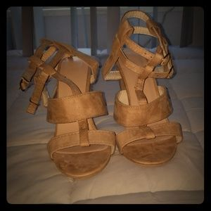 Shoes - Brand New Tan Faux Suede Chunky Block Heels